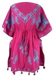 Boho Cotton Floral Embroidered Cover-up Beachwear Kaftan Tunic Fuchsia