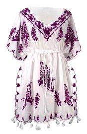 Boho Cotton Floral Embroidered Cover-up Beachwear Kaftan Tunic Purple