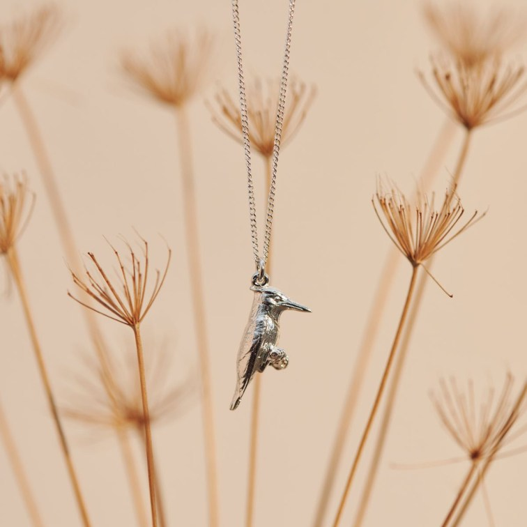 Pied Kingfisher hand-carved in Sterling Silver