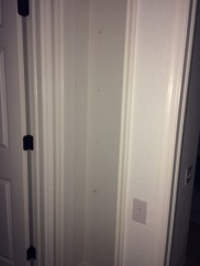 We removed the wire shelves from this too-shallow linen closet, and removed the wall.