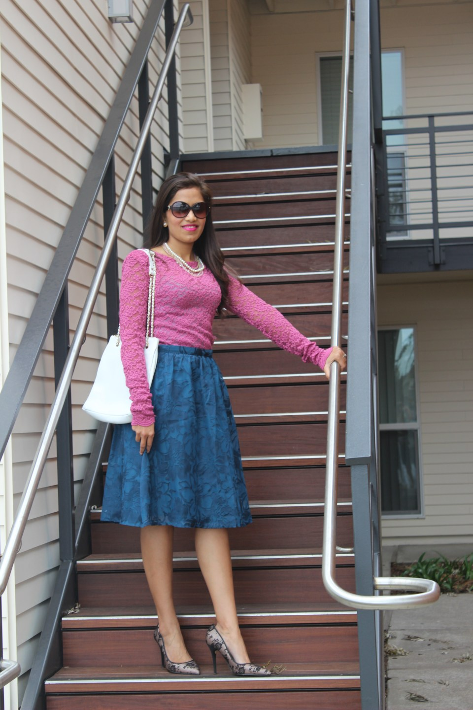 Blue Midi Skirt and Pink Lace Top 3
