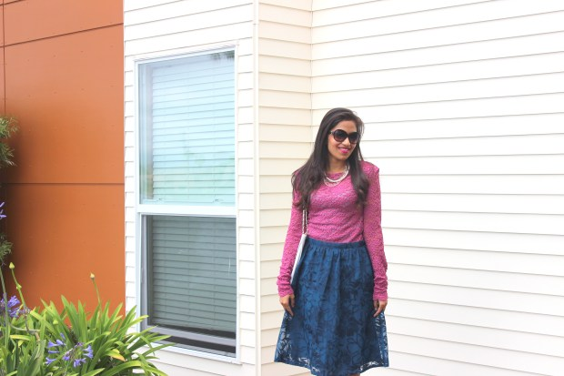 Blue Midi Skirt and Pink Lace Top 5