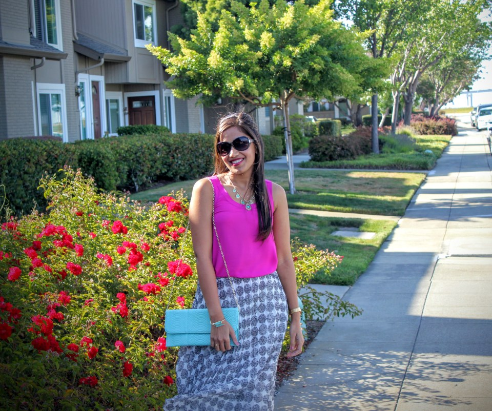 White Midi Skirt and Pink Top 3