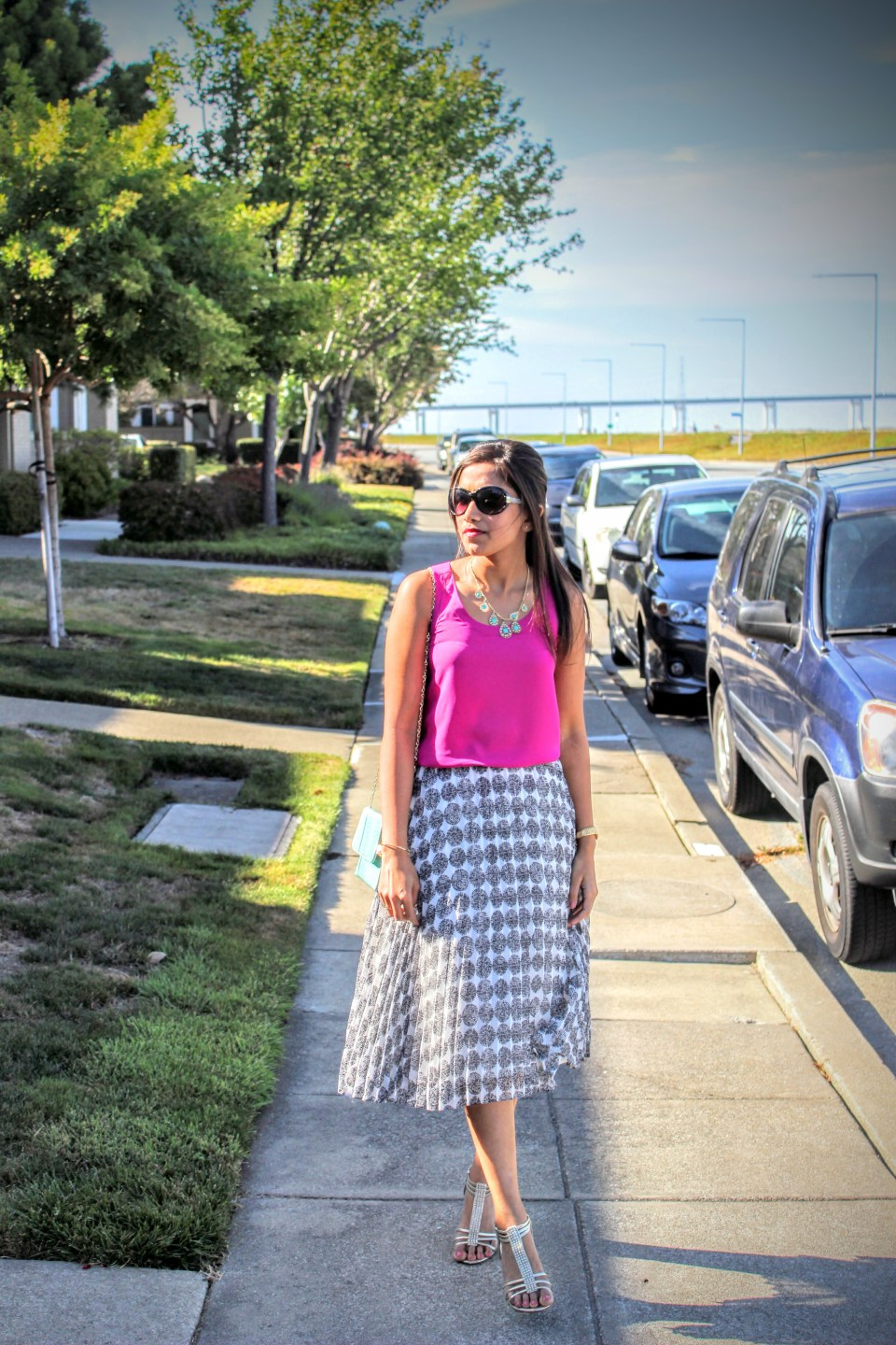 White Midi Skirt and Pink Top 10