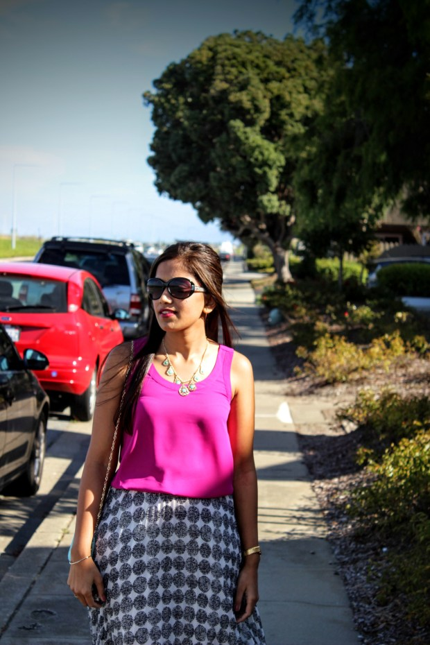 White Midi Skirt and Pink Top 12