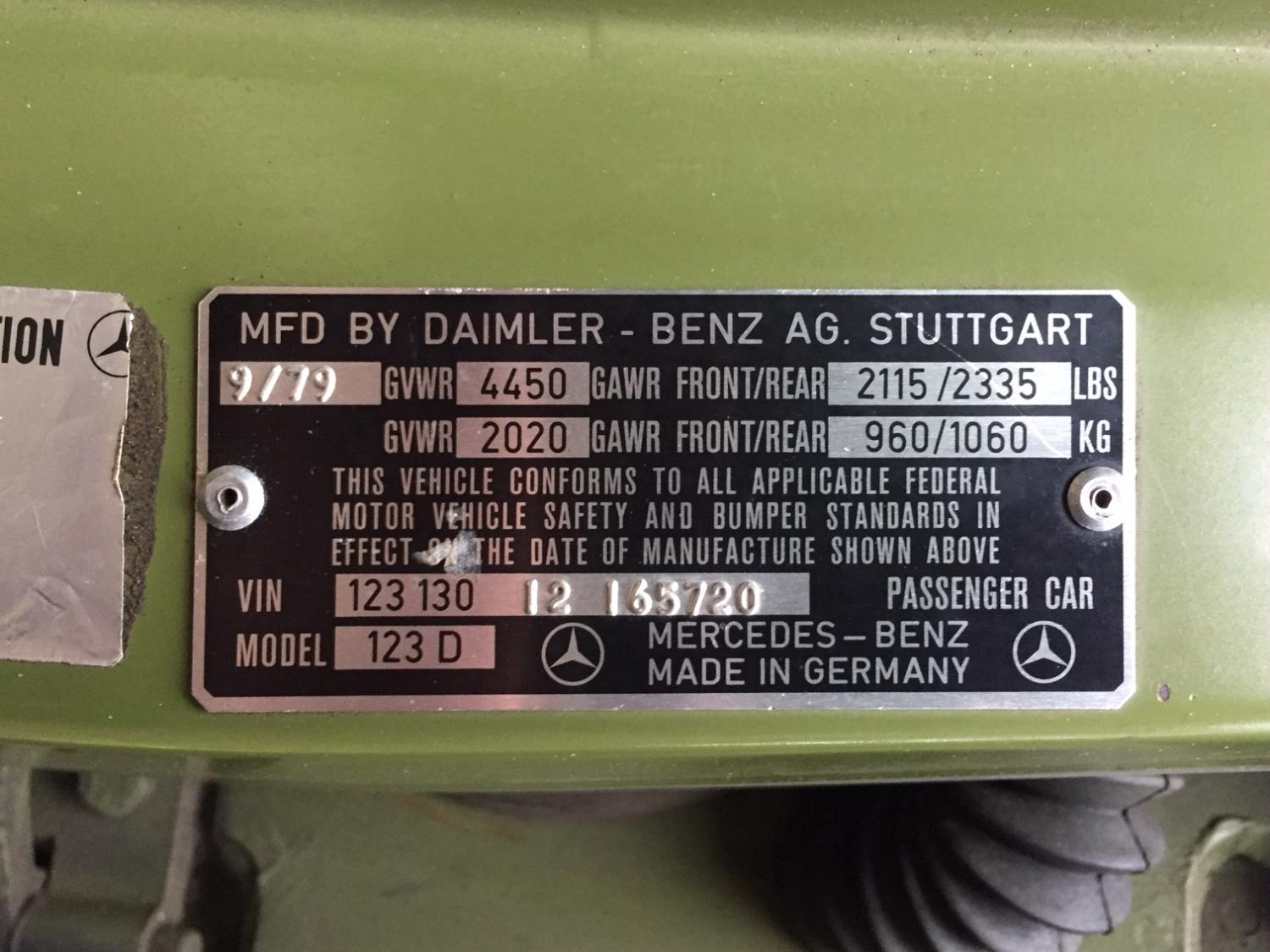 Chaise Number Help With Chassis Number Id Peachparts Mercedes Benz Forum