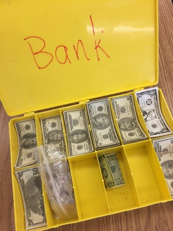 Small cash bills - to give instant feedback (especially at the beginning of school and with new students) Earn money by following instructions and steps, lose money for inappropriate behavior or 'off task' behaviors.