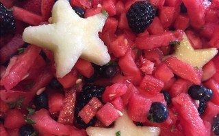 Summer fruit salad with honey lime dressing