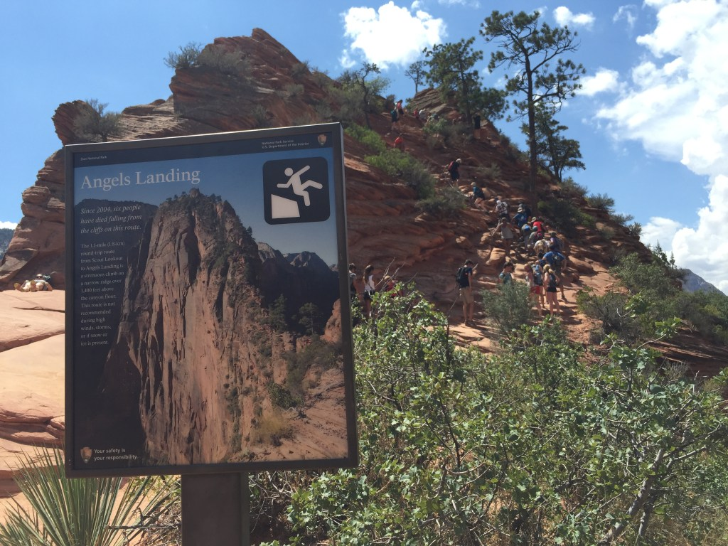 Keke Zion Angels Landing Warning Sign Fall Risk