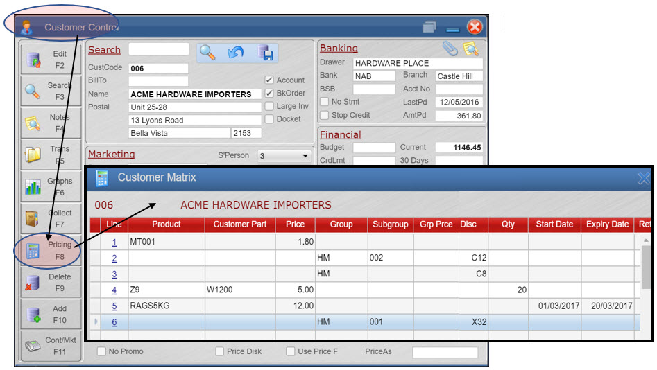 Customer Control Screen with Customer Special Pricing Price Matrix