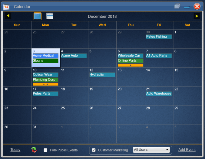 Calendar and Marketing Screen