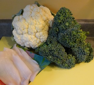 Sweet baby broccoli, cauliflower, and sole filets