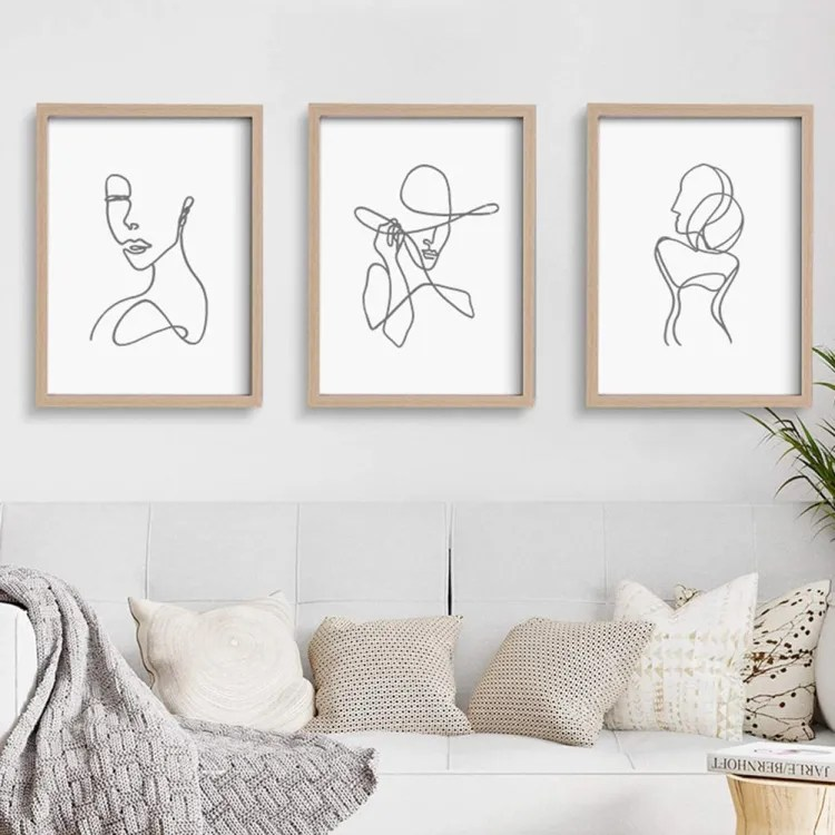 Framed Line Wall Art   Peachy Interiors