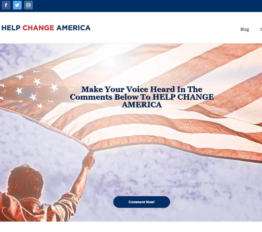 screen shot of help change america website design
