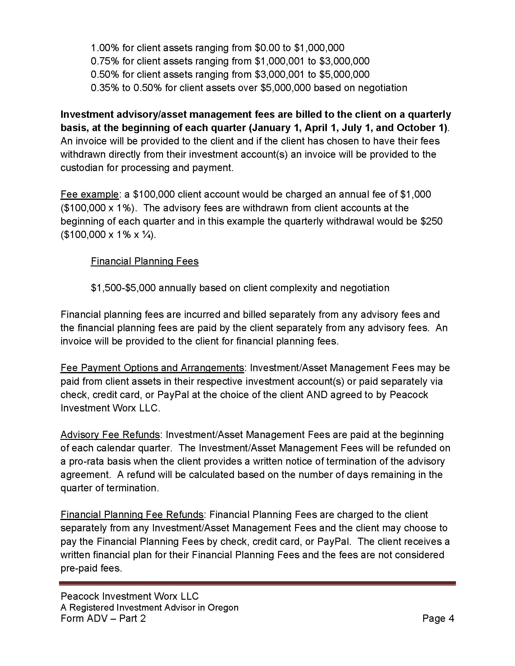 PIW Form ADV Part 2 Firm Brochure With TradePMR FCC Verbiage 6 11