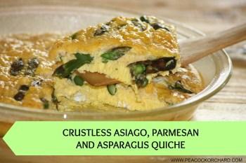 Crustless Asiago, Parmesan and Asparagus Quiche