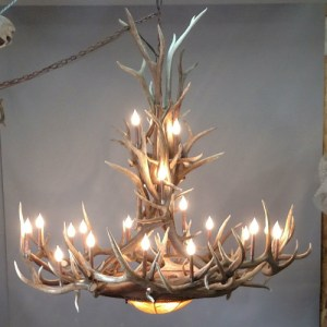 542-XL mt bross elk antler chandelier iron base