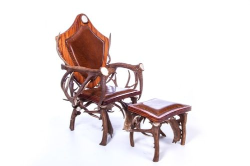 904 Kings Chair Deer Antler Chair Ottoman