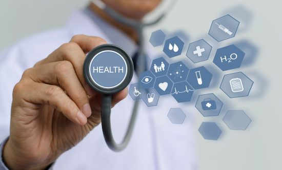 Doctor holding stethoscope with health icons flow on virtual screen, medical technology, e health service concept