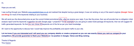 SEO Spammer email