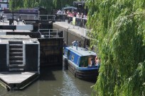 Manoeuvring through the lock at Camden