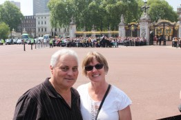 Waiting for the changing of the guard at Buckingham Palace