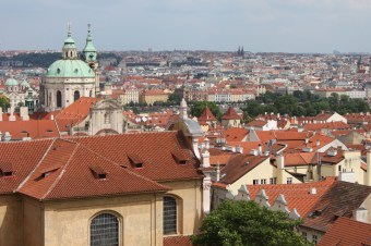 The colourful buildings of Prague from the Castle grounds.