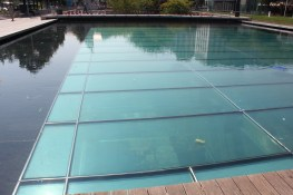 The swimming pool which houses the restaurant under its depths