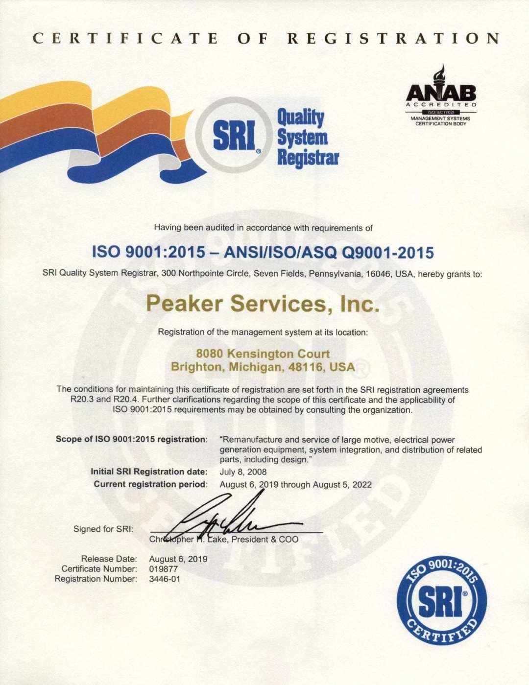 ISO SRI Certificate 2022 Peaker Services, Inc.