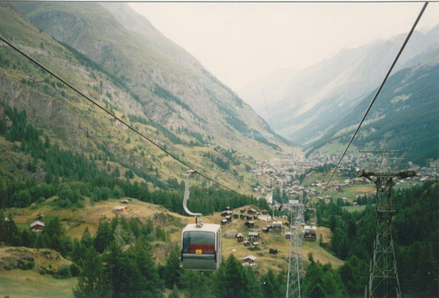 In the cable car looking back at Zermatt