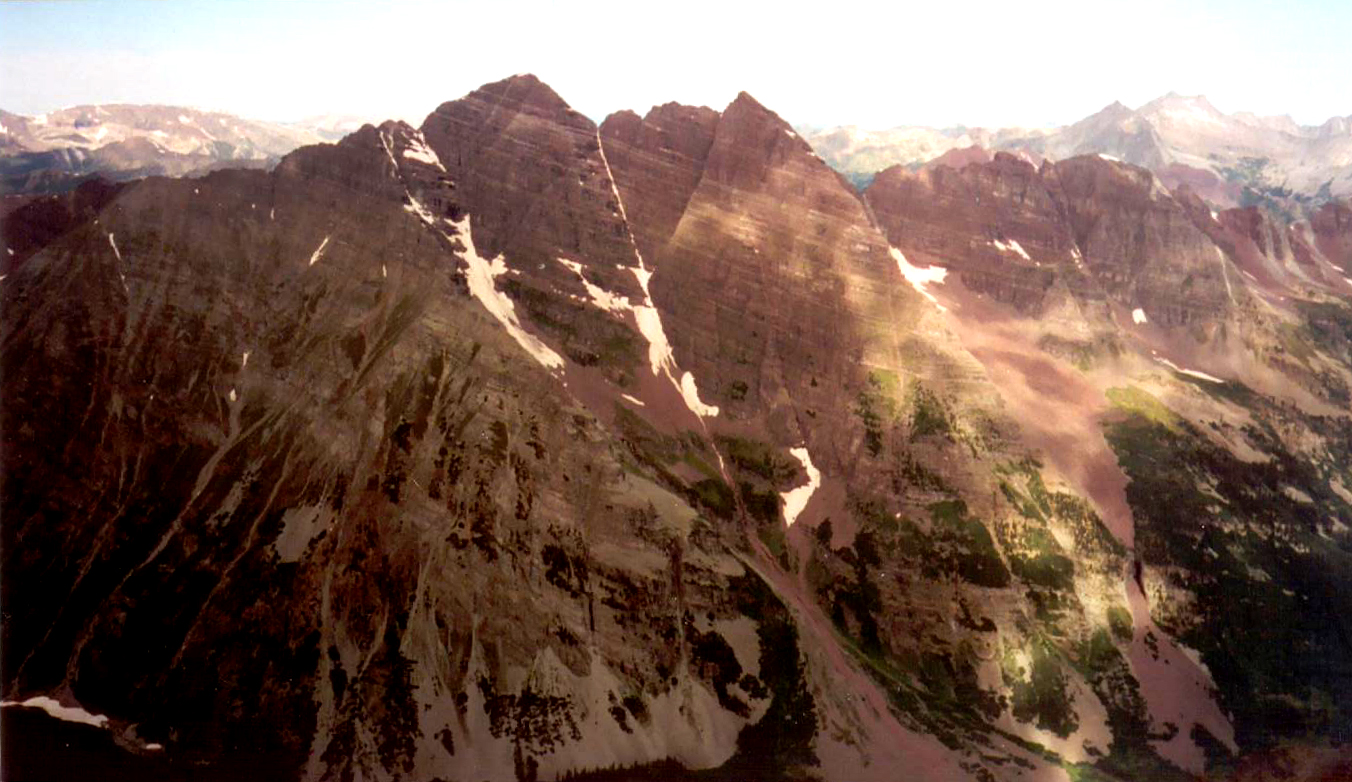 My first good look at the Maroon Bells, seen from the summit of Pyramid