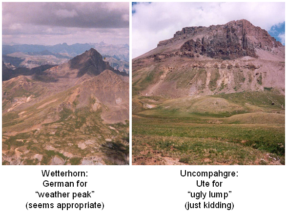 My observation of mountain name appropriateness