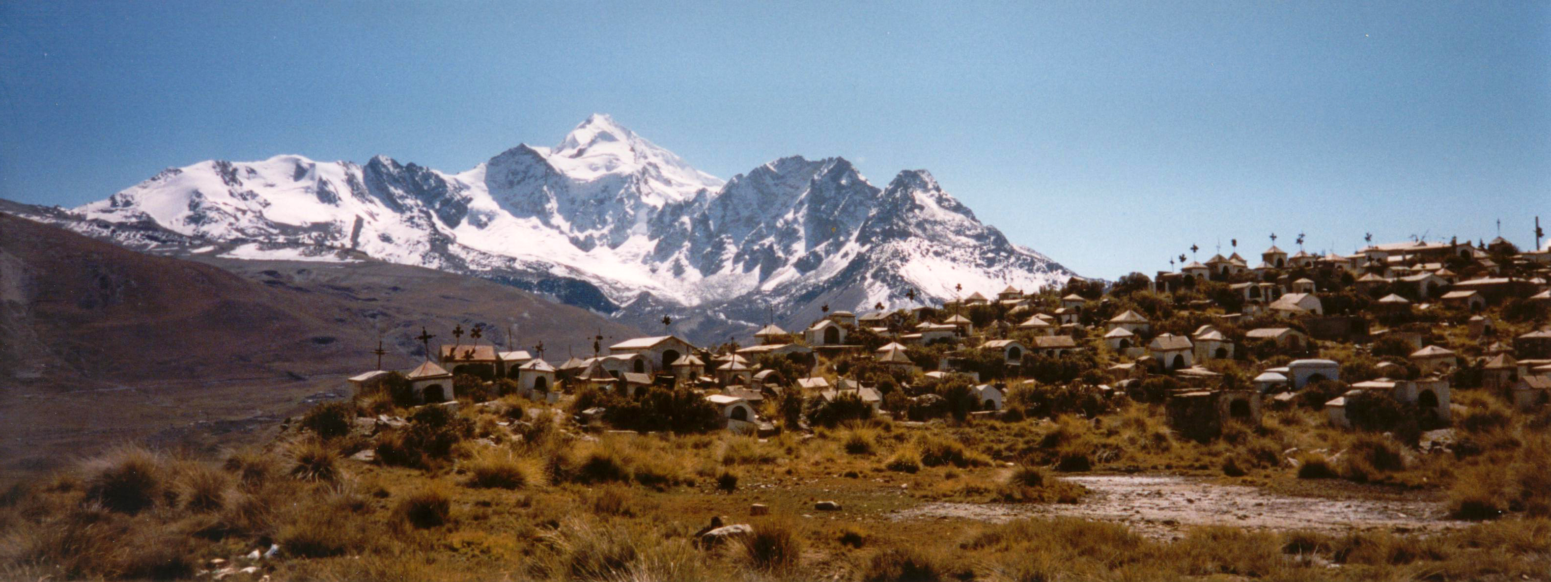 A view of Huayna Potosi on the drive to base camp.  In the foreground was a old graveyard for miners.