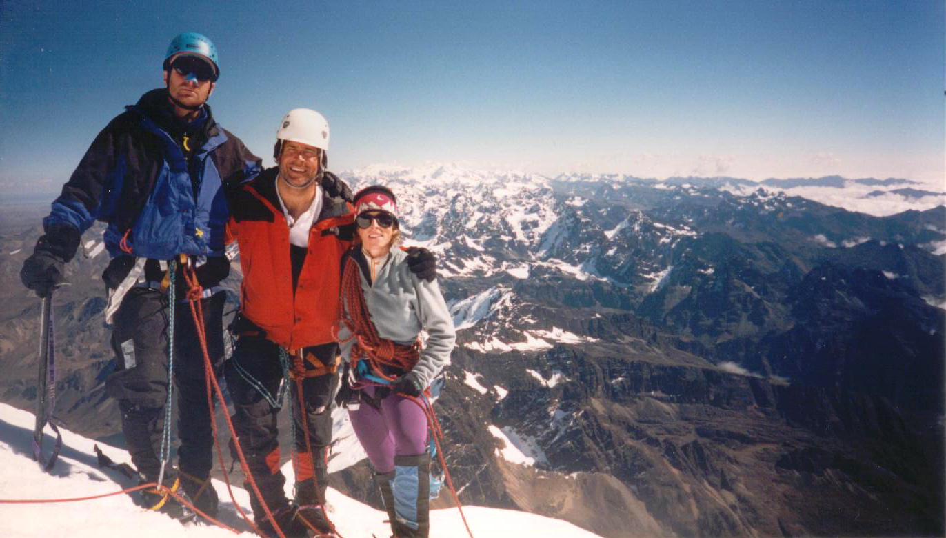 The Joe's and Kat on the summit of Huayna Potosi with much of Bolivia in the background.
