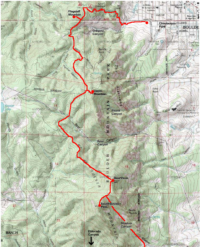 Topo map showing Boulder 4 Banger route