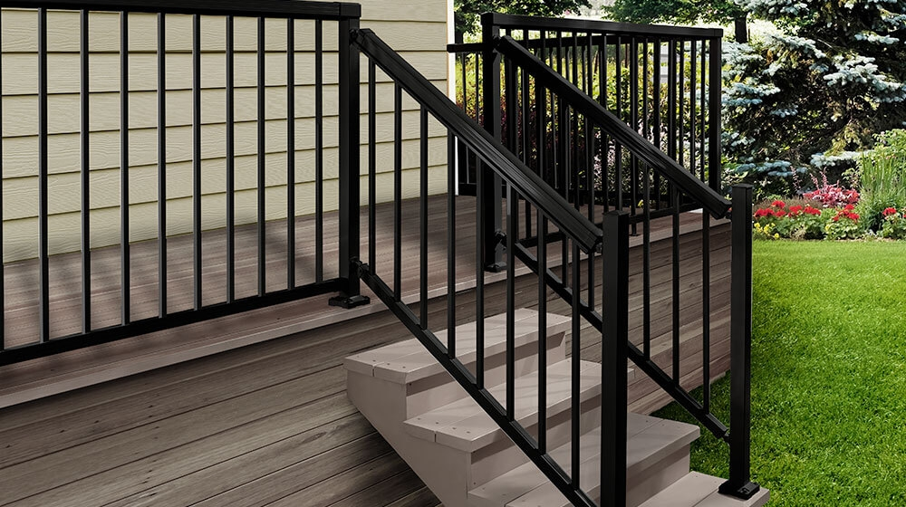 Exclusive To The Home Depot Peak Aluminum Railing   Aluminum Handrails For Concrete Steps   Stair   Wood   Front Porch   Back Patio   Mobile Home