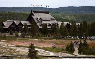Yellowstone Lodge at Old Faithful Geyser commands attention with it's stately apointement and scale.