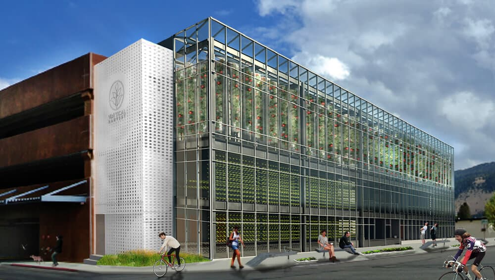 The newly propsed Vertical Harvest would provide fresh food. Perched on the side of the Jackson Hole Parking Garage it ads flair to an otherwise drab grarage structure.