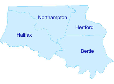 Map graphic showing the outlined shapes of Halifax, Northampton, Hertford, and Bertie Counties.