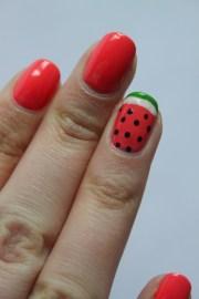 watermelon nail art peanut buttered