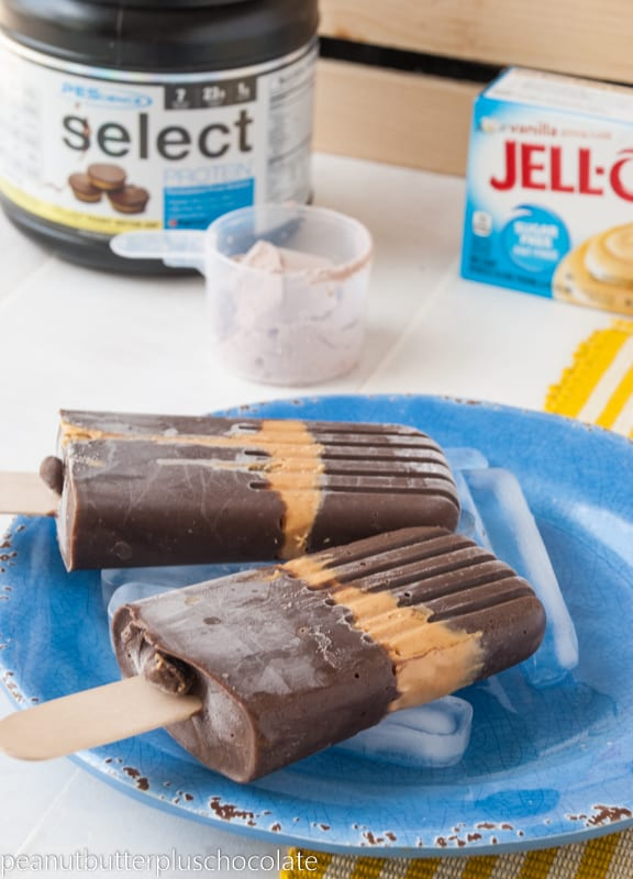 Chocolate Peanut Butter Pudding Protein Popsicles