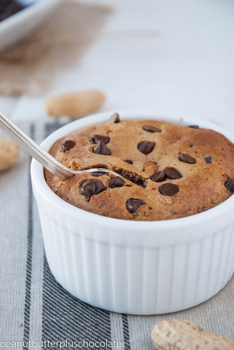 Healthy Single-Serving Peanut Butter Chocolate Chip Cake