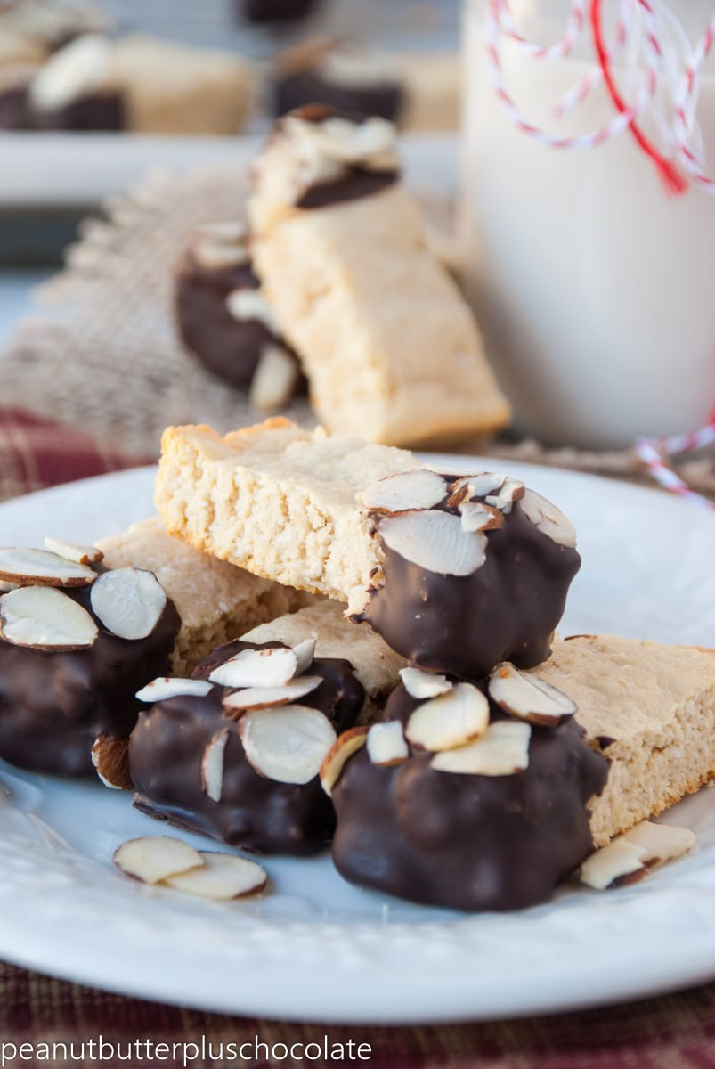 Healthy Chocolate Dipped Almond Shortbread Cookie Dunkers