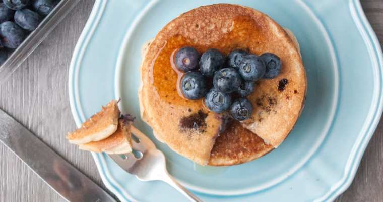 Healthy Blueberry Pancakes {High Protein and GF}