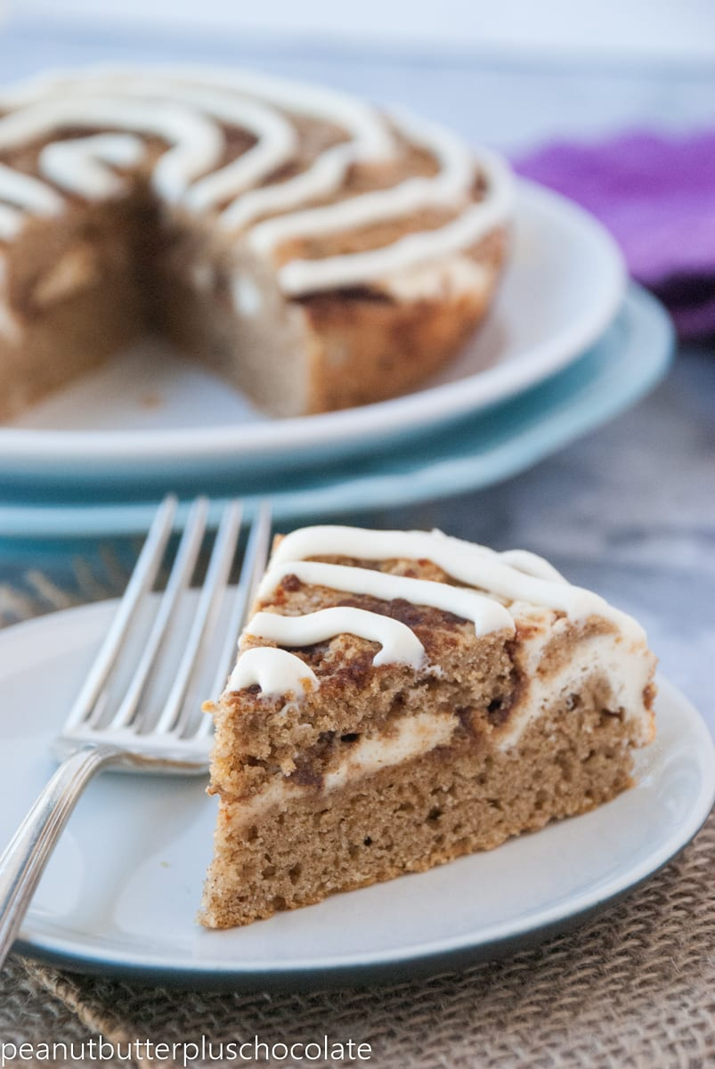 Healthy Cinnamon Roll Coffee Cake with Cheesecake Filling