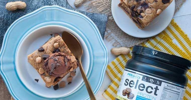 Healthy Peanut Butter Brownie Bars {Gluten-Free & High Protein}