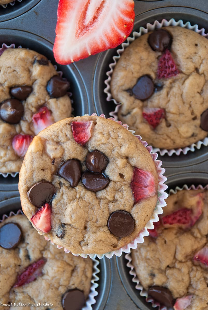 Healthy Strawberry Banana Chocolate Chip Muffins