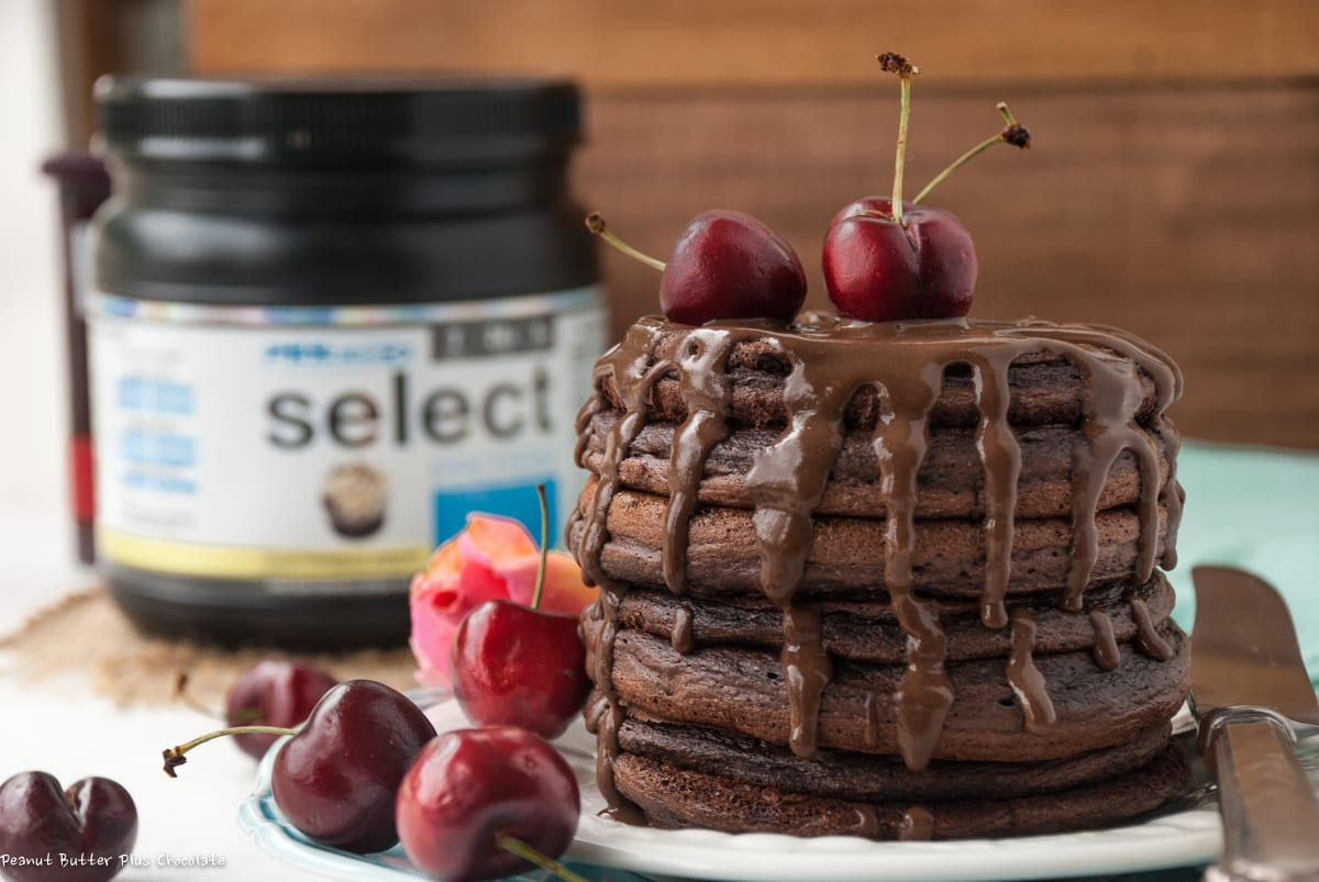 Healthy Dark Chocolate Pancakes made Sugar-Free and Gluten-Free