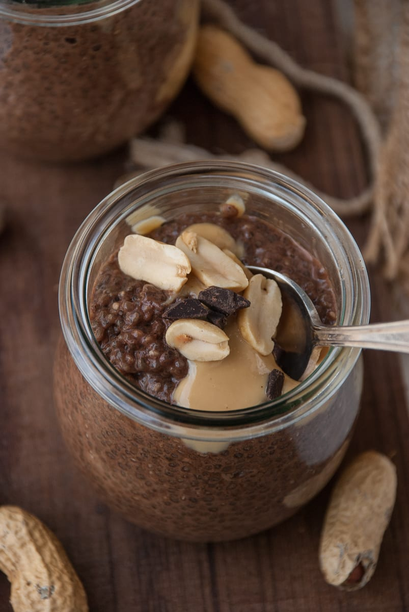 Healthy Chocolate Peanut Butter Chia Pudding