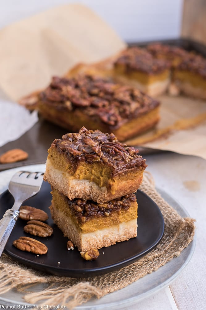 Healthy Pumpkin Pecan Pie Bars (gluten-free)